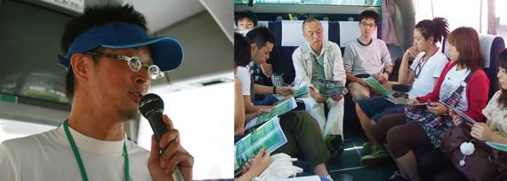 写真(左):ツアーディレクターからの車内レクチャー 写真(右):サロン風に活用した車内勉強会