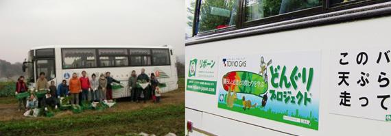 写真(左):新宿区立環境学習情報センターのエコツアーで利用 写真(右):東京ガス・どんぐりプロジェクトツアーで利用